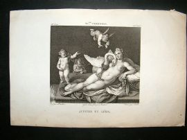 After A. Veronese C1810 Antique Print. Jupiter Et Leda, Cherubs, Nude & Swan